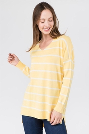 Dreamers Striped V-Neck Sweater - Product Mini Image