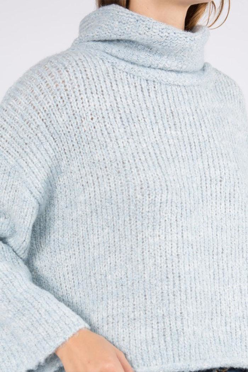 Dreamers Turtleneck Pullover Sweater - Back Cropped Image
