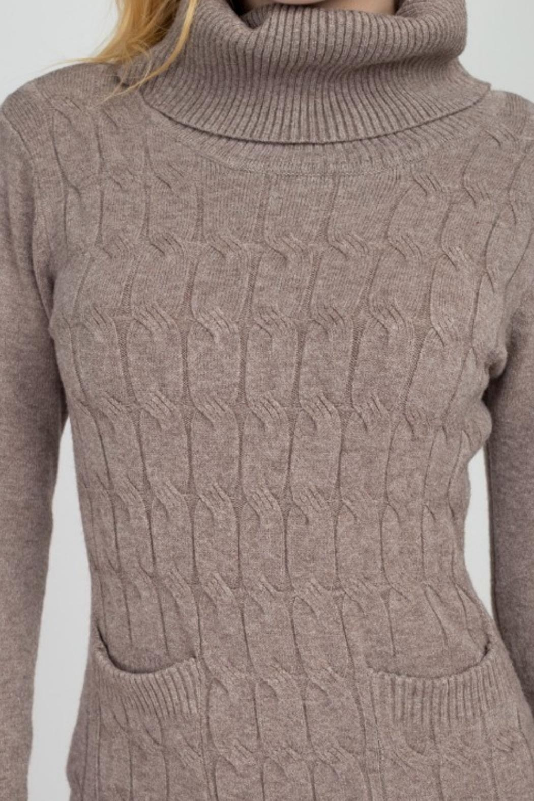 Dreamers Turtleneck Sweater Dress - Side Cropped Image