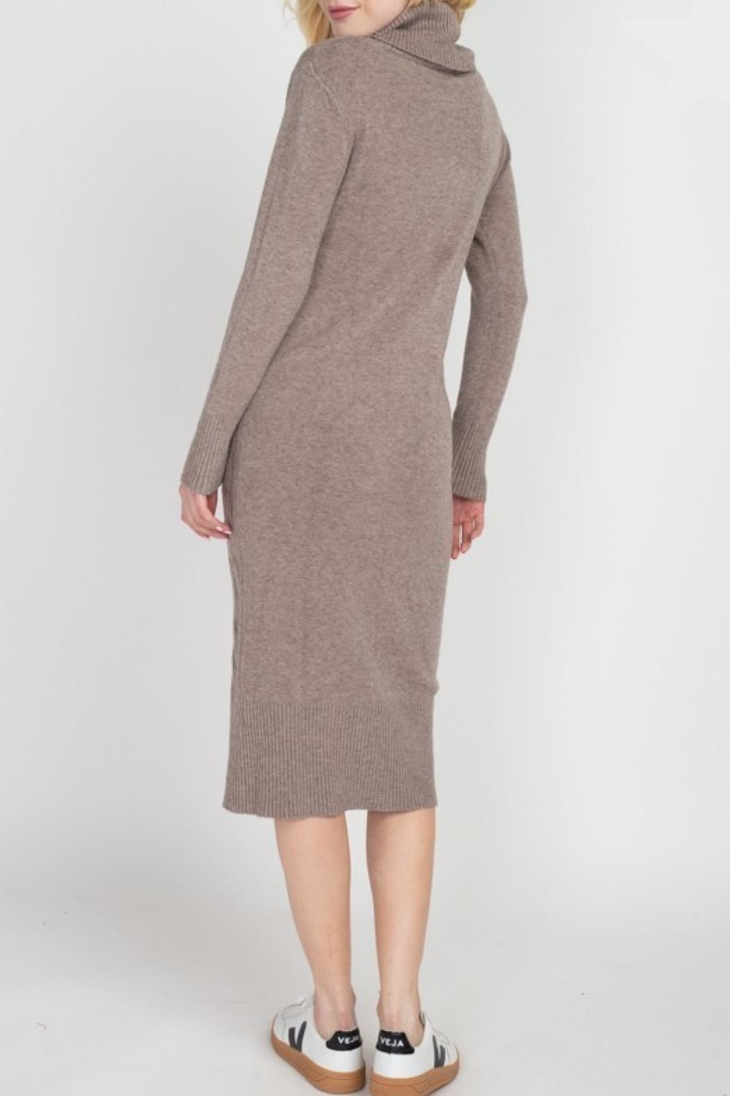 Dreamers Turtleneck Sweater Dress - Front Full Image