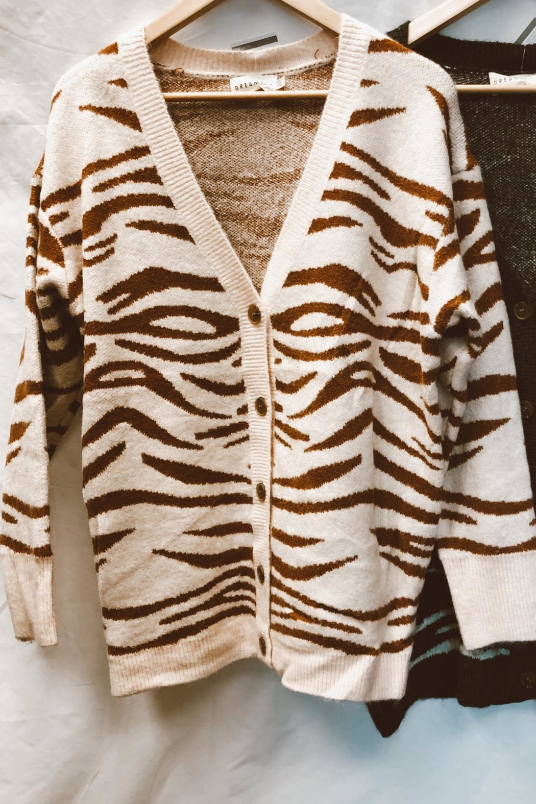 Dreamers Zebra Print Cardigan - Front Cropped Image