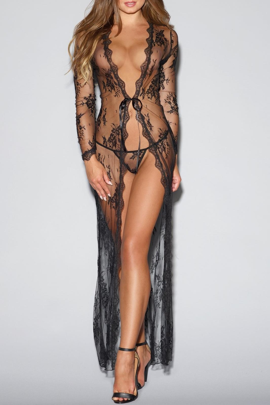 Dreamgirl Tie-Front Lace Robe - Main Image