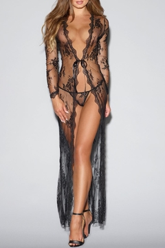 Dreamgirl Tie-Front Lace Robe - Product List Image