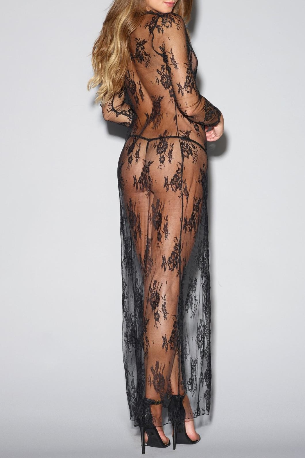 Dreamgirl Tie-Front Lace Robe - Front Full Image