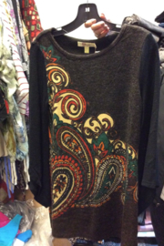 Aryeh Dress-Black and brown swirl pattern on winter knit dress - Front cropped