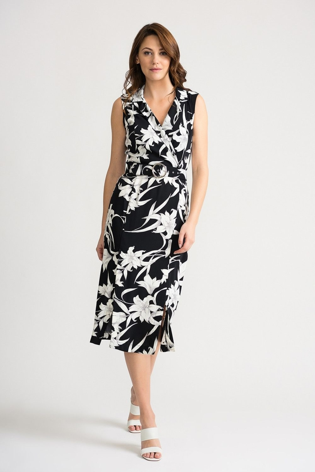 Joseph Ribkoff Dress- black and white - Front Cropped Image