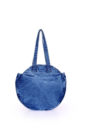 America & Beyond Dress Blues Denim Round Tote - Front cropped