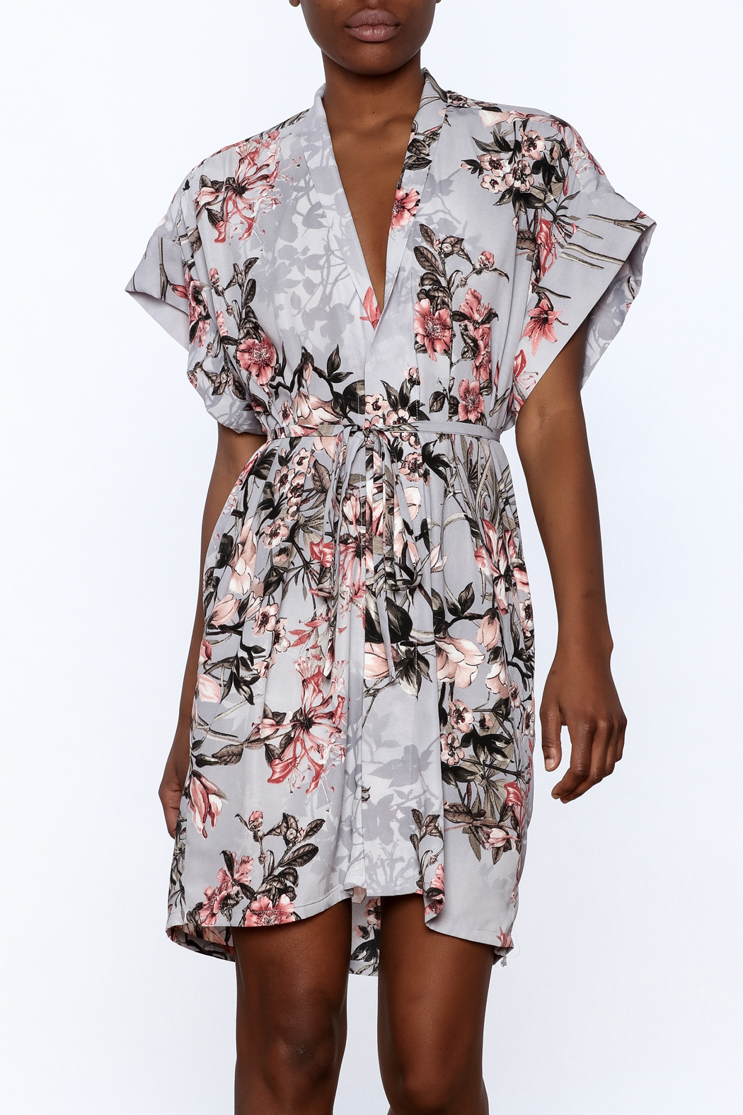 dress forum Floral Kimono Dress - Front Cropped Image