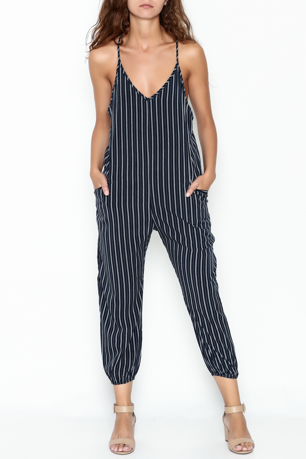 cfac967677 dress forum Navy Striped Jumpsuit from New York by Dor L Dor ...
