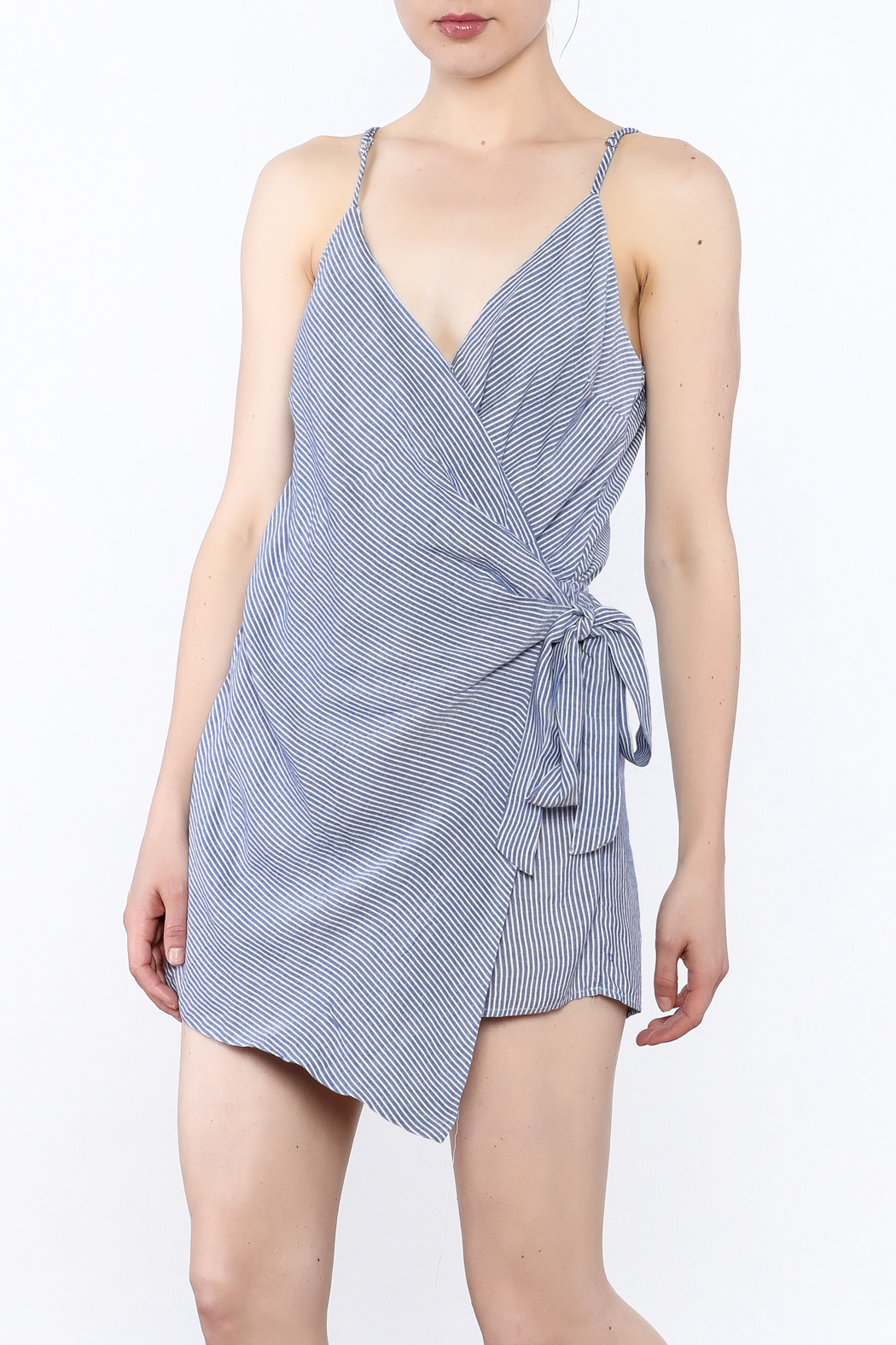 dress forum Stripe Wrap Romper - Front Cropped Image