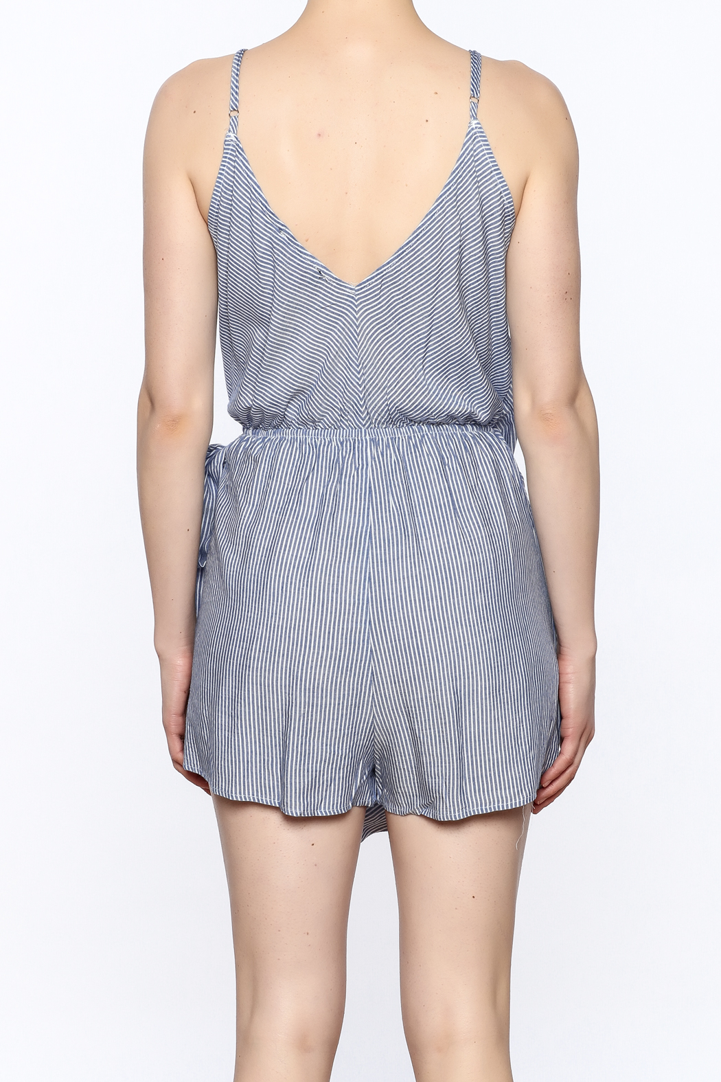 dress forum Stripe Wrap Romper - Back Cropped Image