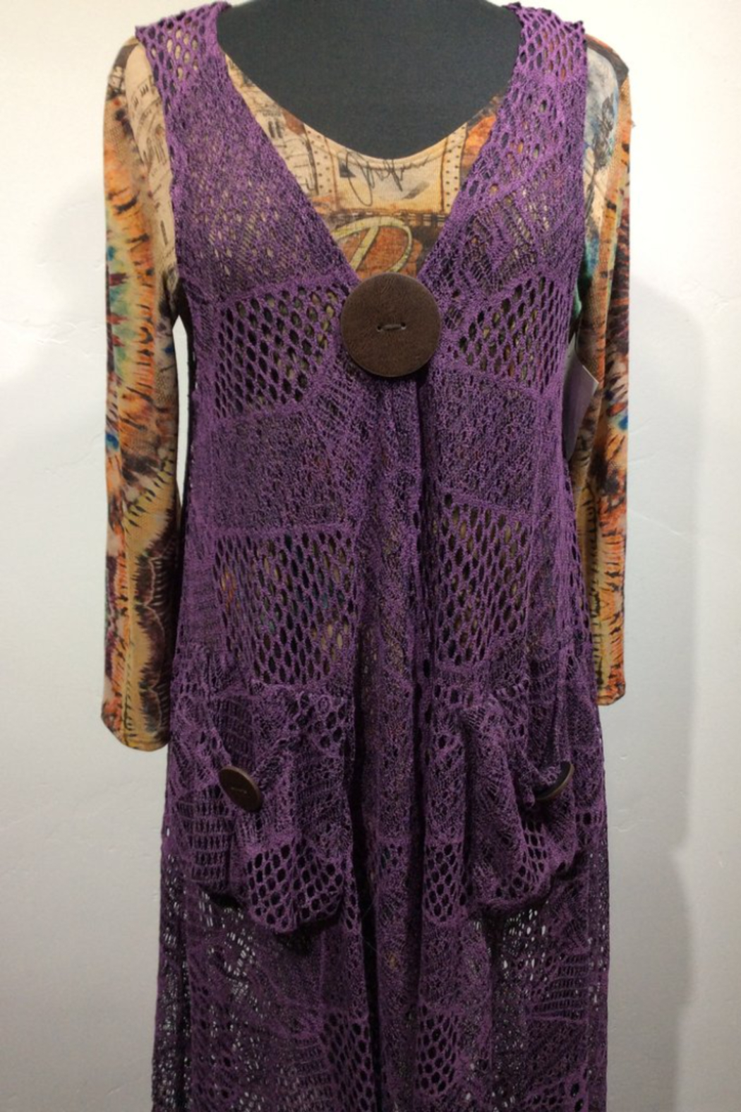 Grace K Dress- SJ9864-1 Crochet Dress with Pockets and Large Wooden Button Detail - Main Image