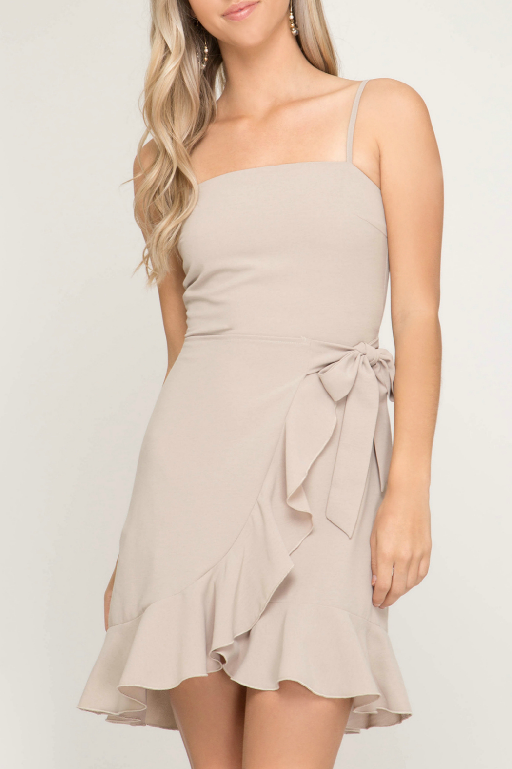 She + Sky Dress w Ruffle Wrap Skirt & Side Tie - Front Cropped Image