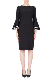 Joseph Ribkoff Dress with contrast ruffle Sleeve - Product Mini Image