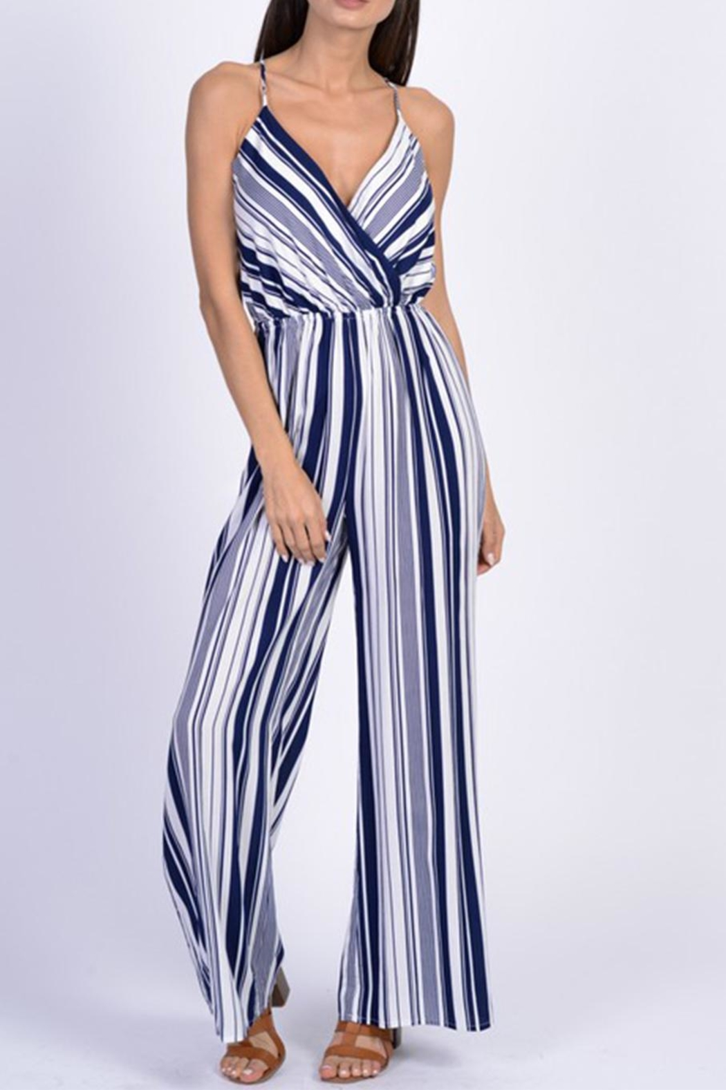 Dress Code Blue Stripe Jumpsuit - Front Cropped Image