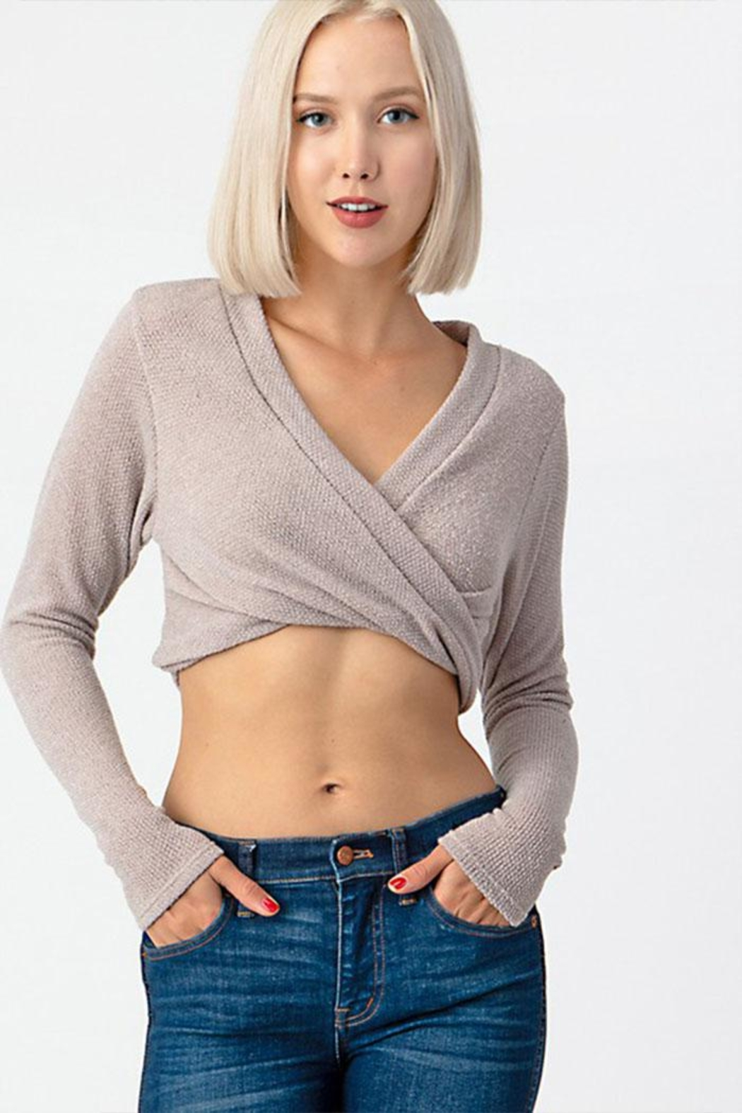 Dress Code Cropped Sweater Top - Front Cropped Image