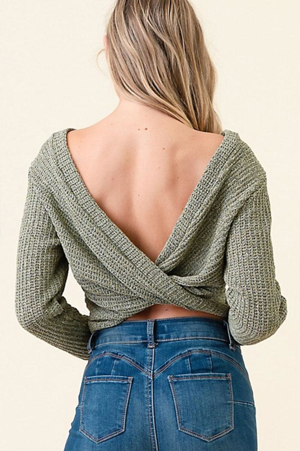Dress Code Cropped Sweater Top - Front Full Image