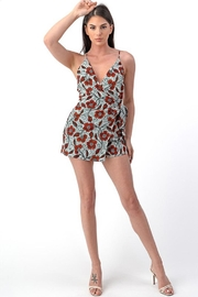 Dress Code Floral Wrap Romper - Front full body
