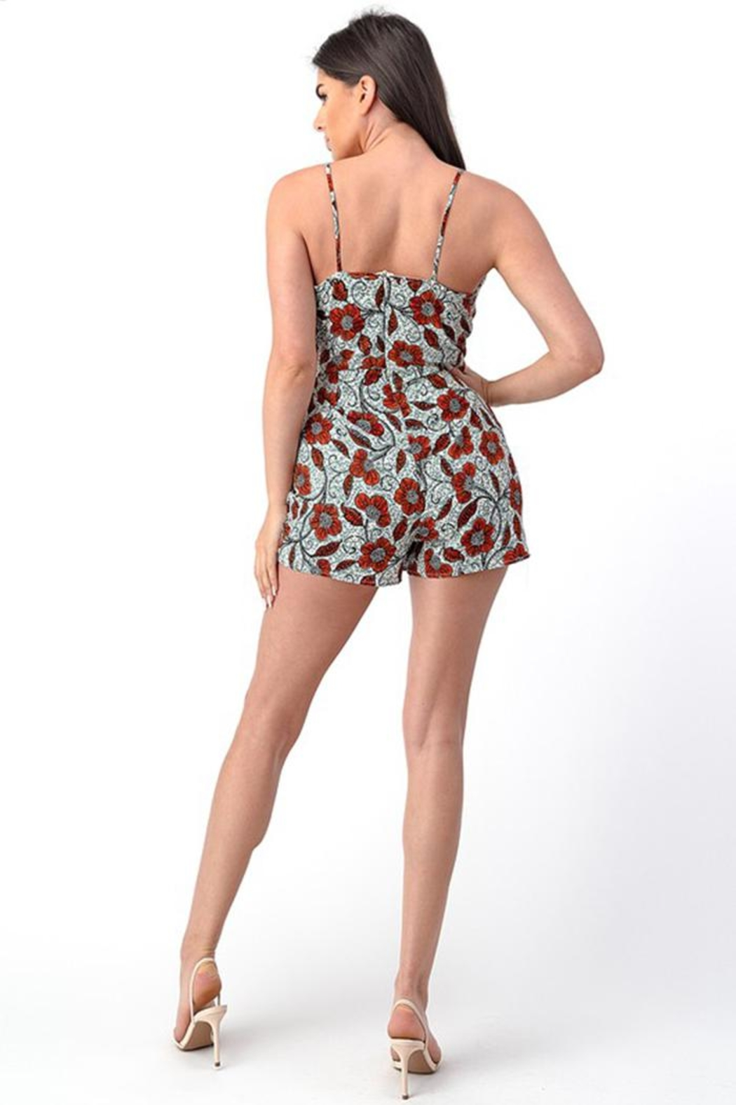 Dress Code Floral Wrap Romper - Back Cropped Image