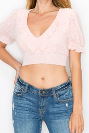 Dress Code Ruffled V-Neck Back Tie Crop Top - Product Mini Image