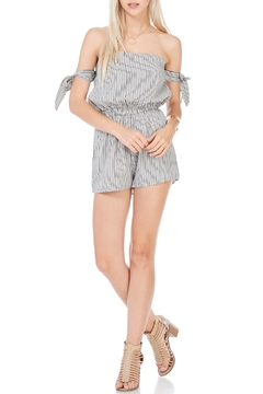 Shoptiques Product: Black Pin Striped Strapless Romper
