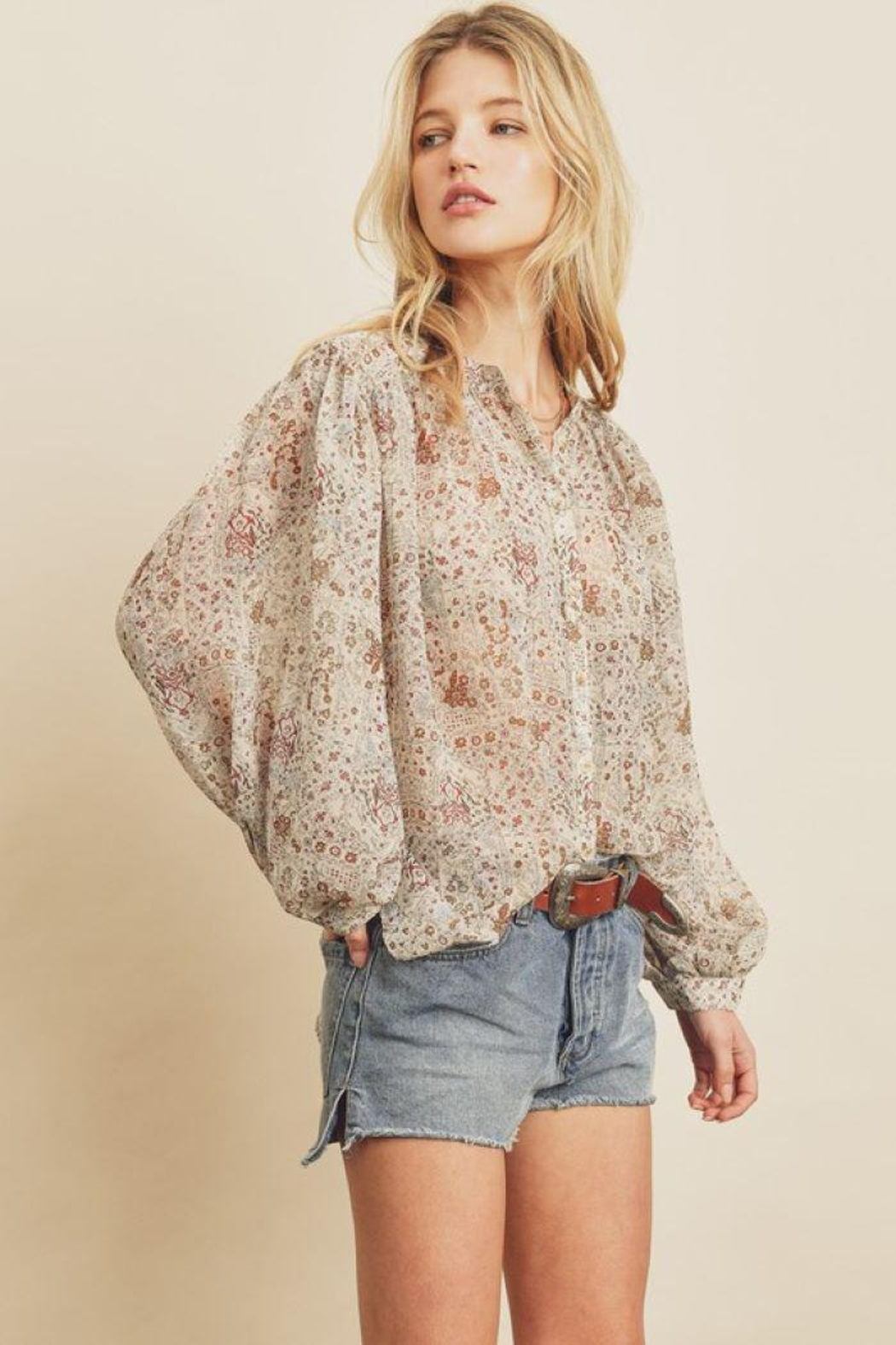 dress forum Boho Ethnic Button Down Top - Back Cropped Image