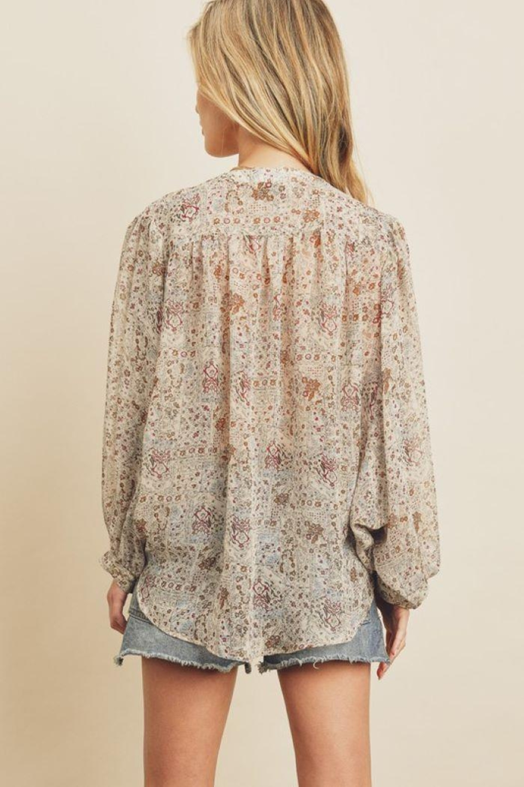 dress forum Boho Ethnic Button Down Top - Front Full Image
