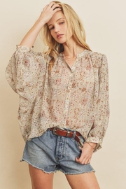 dress forum Boho Ethnic Button Down Top - Front cropped