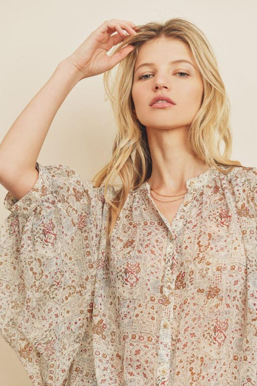dress forum Boho Ethnic Button Down Top - Side Cropped Image
