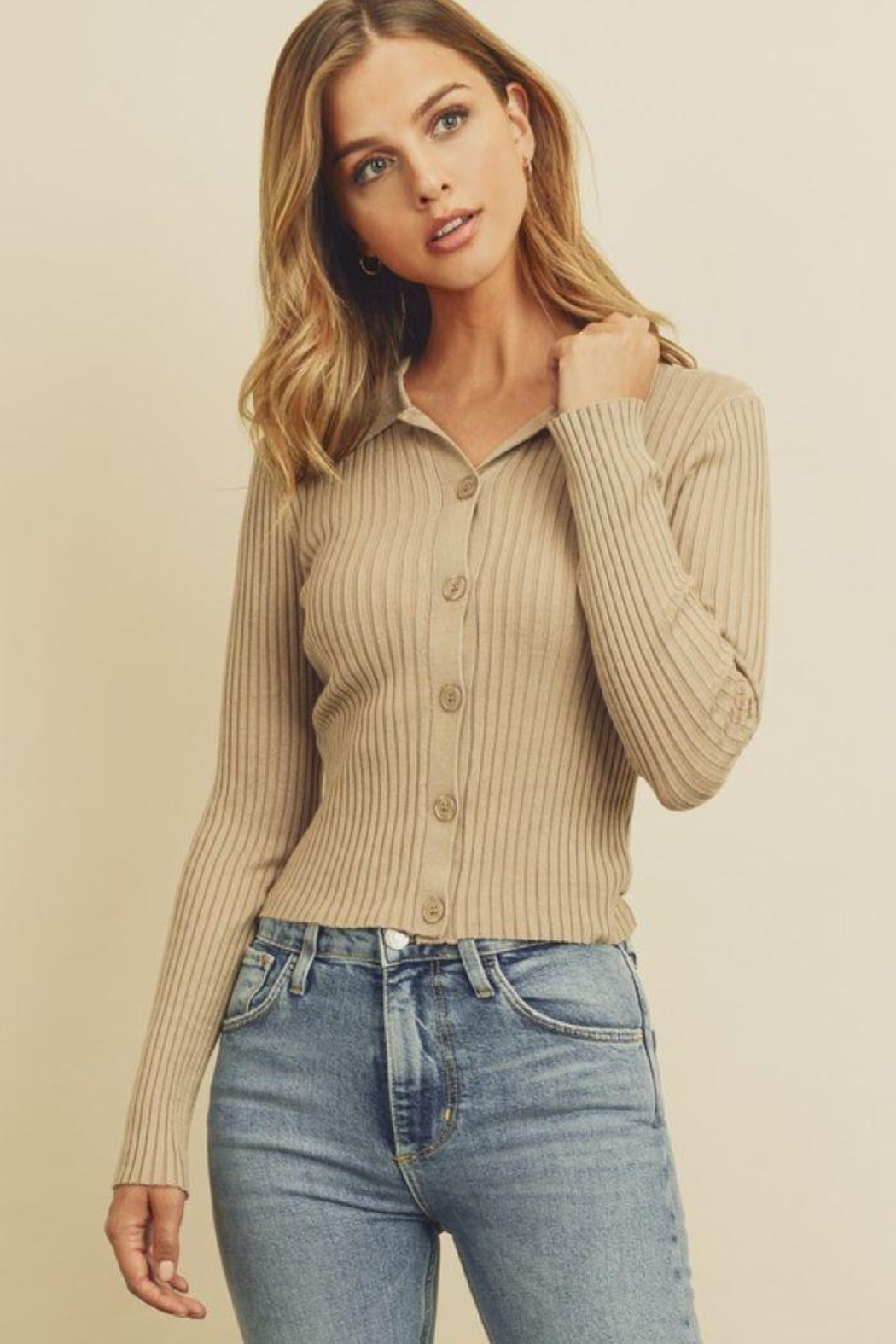 dress forum Collared Button-Down Knitted Top - Front Cropped Image