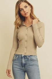 dress forum Collared Button-Down Knitted Top - Front cropped