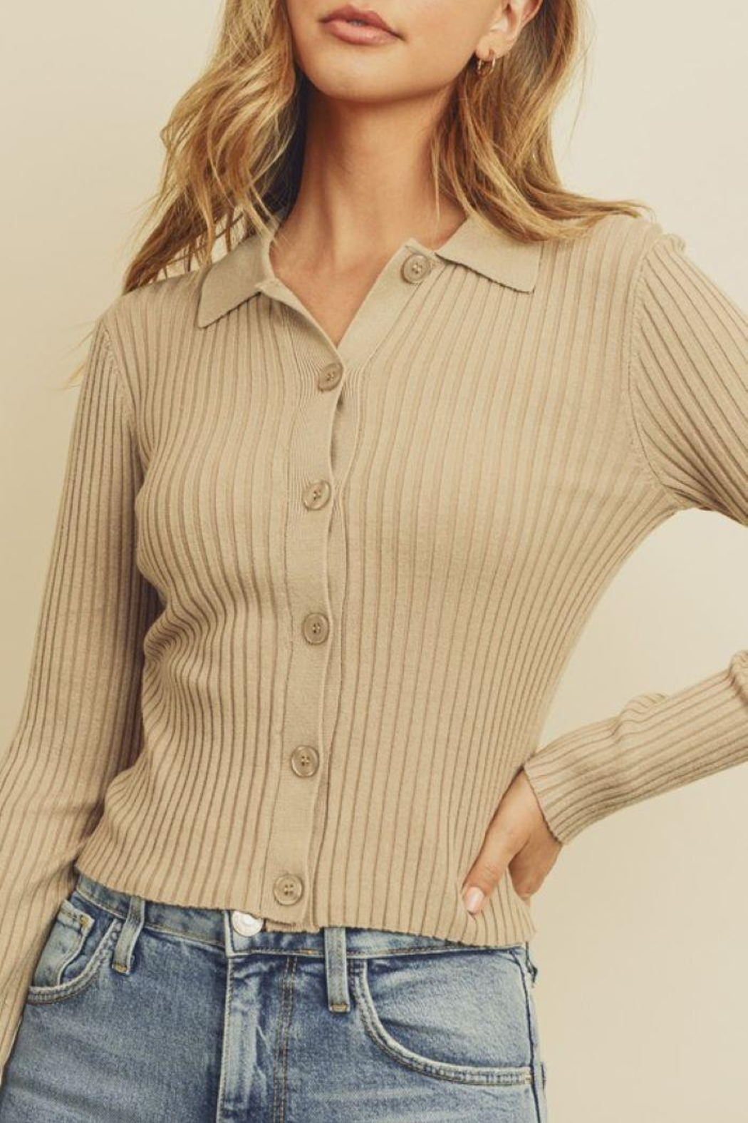 dress forum Collared Button-Down Knitted Top - Back Cropped Image