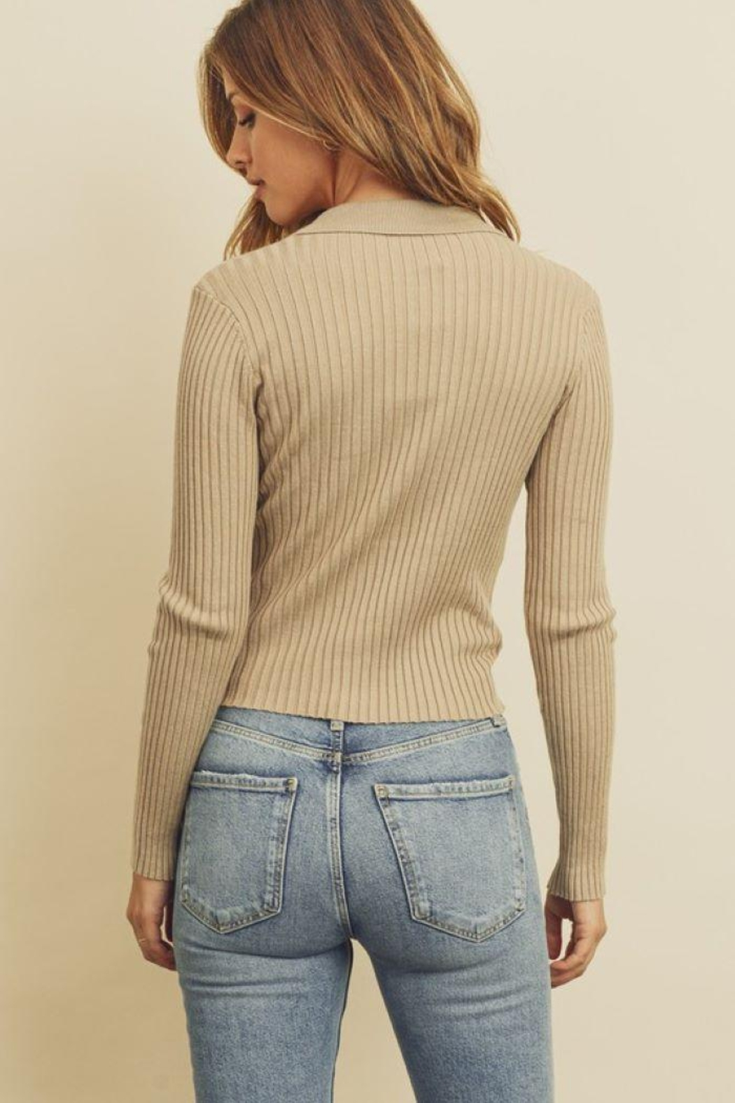 dress forum Collared Button-Down Knitted Top - Front Full Image