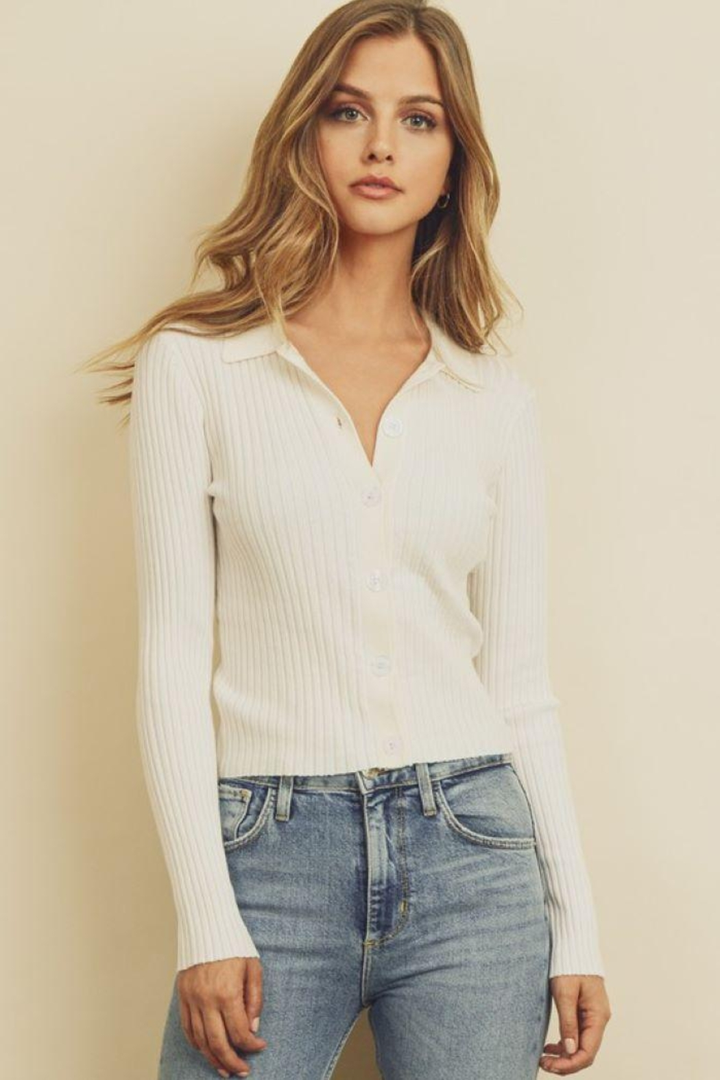 dress forum Collared Button-Down Knitted Top - Main Image