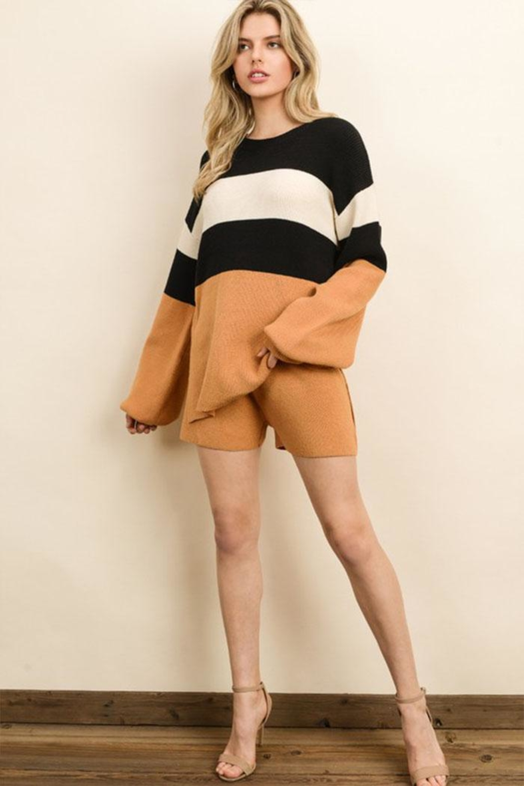dress forum Color Block Sweater - Back Cropped Image
