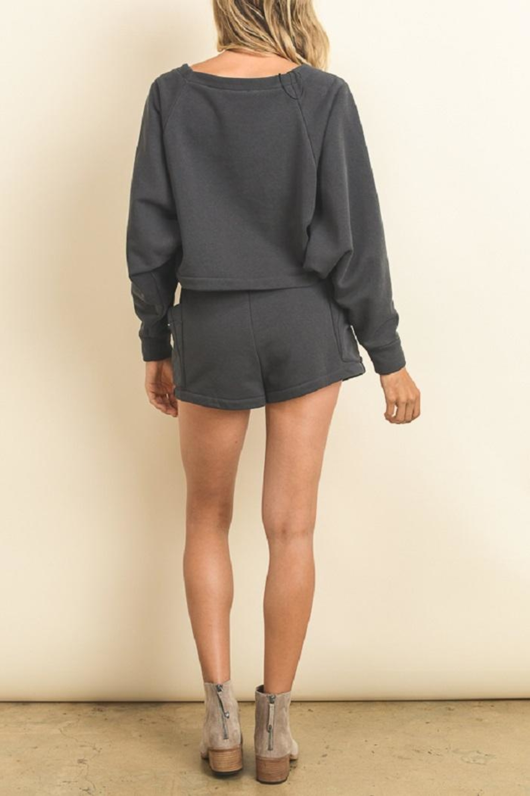 dress forum Comfy Grey Romper - Back Cropped Image