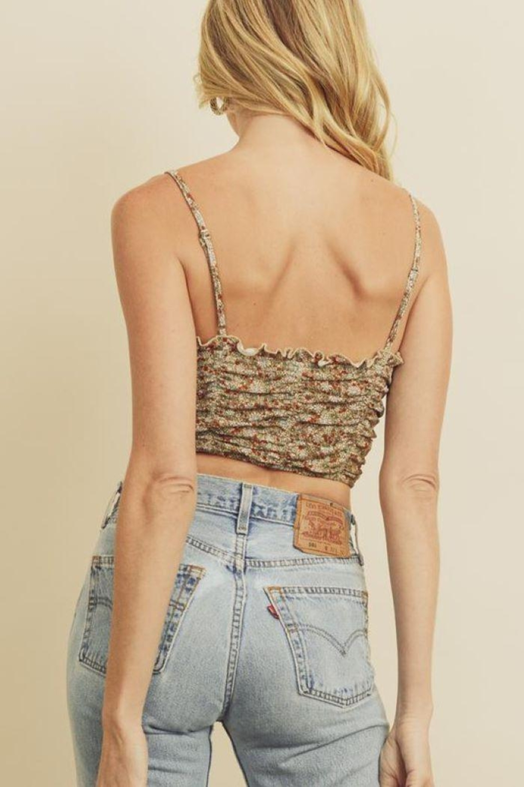 dress forum Ditsy Floral Print Sleeveless Cropped Top - Side Cropped Image
