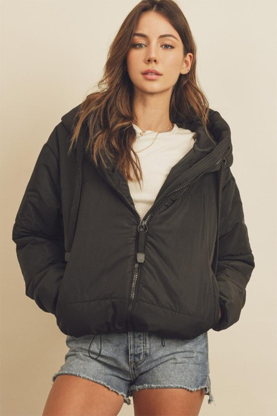 dress forum Drawstring Puffer Jacket - Front Full Image