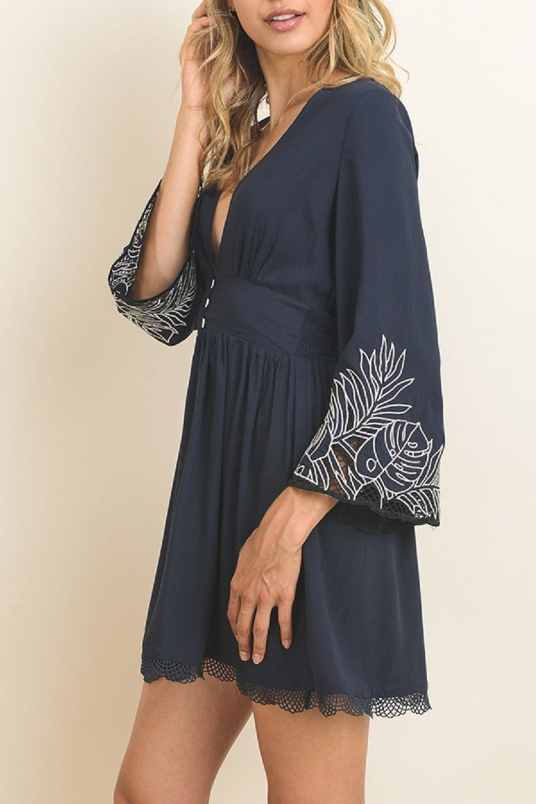 dress forum Embroidered Bell Sleeve Dress - Side Cropped Image