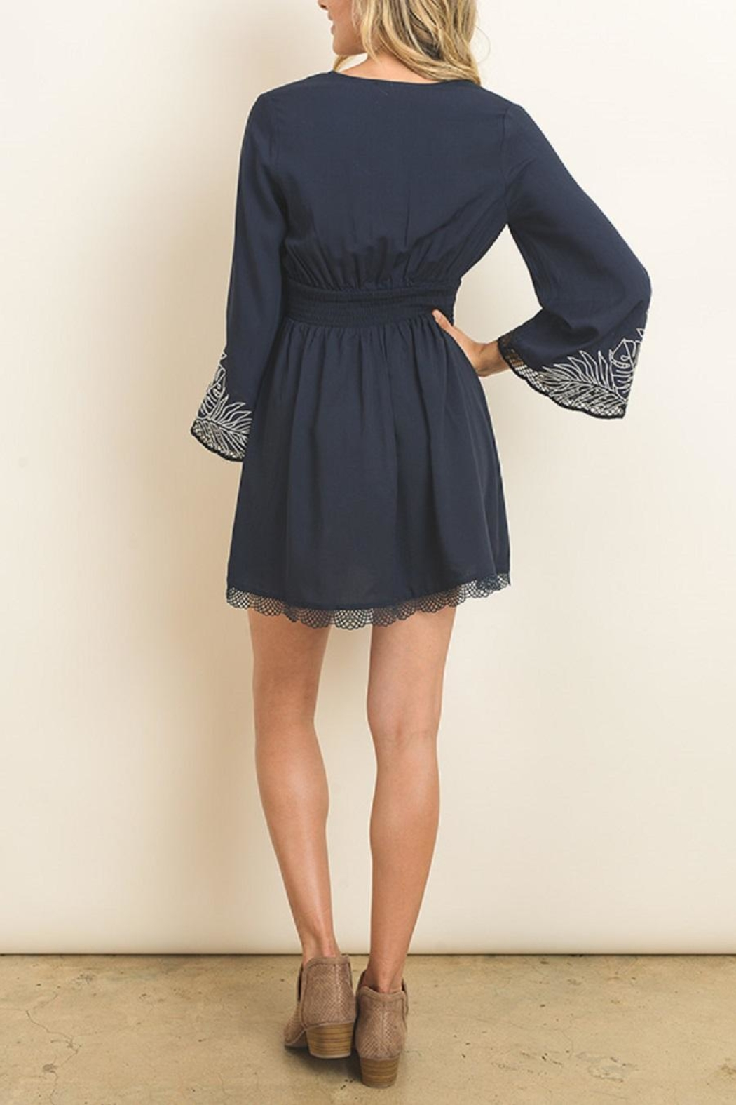 dress forum Embroidered Bell Sleeve Dress - Back Cropped Image