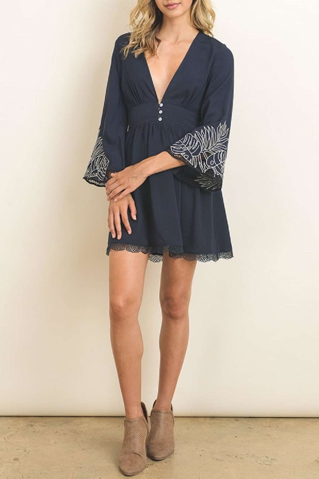 dress forum Embroidered Bell Sleeve Dress - Front Full Image
