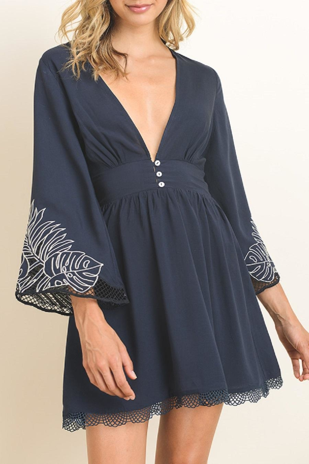 dress forum Embroidered Bell Sleeve Dress - Main Image