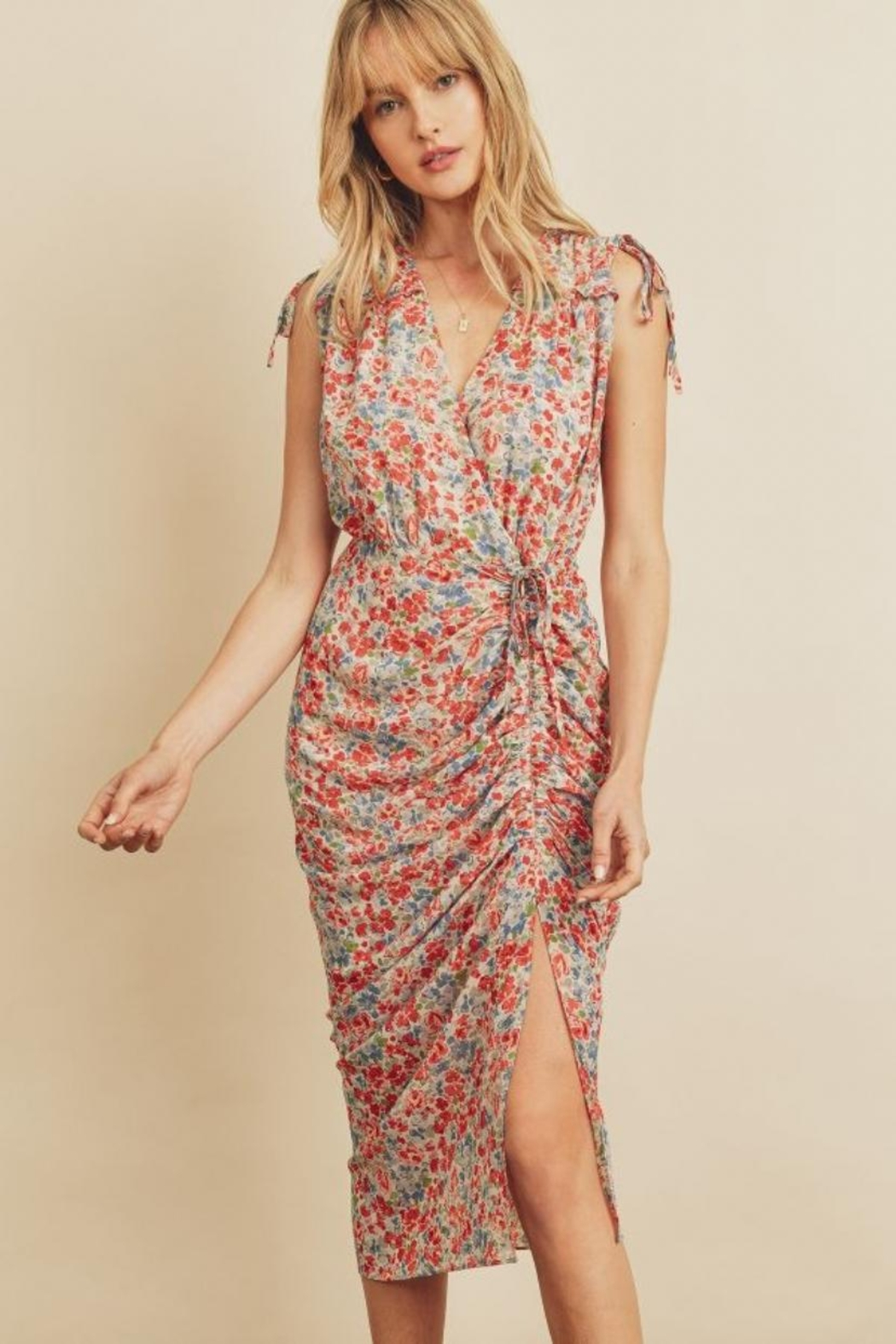 dress forum Floral Ruched Midi-Dress - Main Image