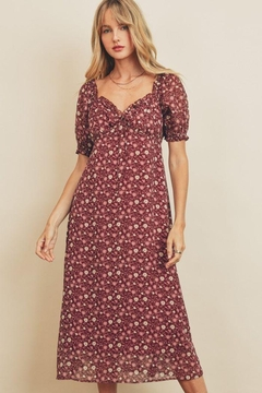 Shoptiques Product: Floral Sweetheart Puff Sleeve Dress