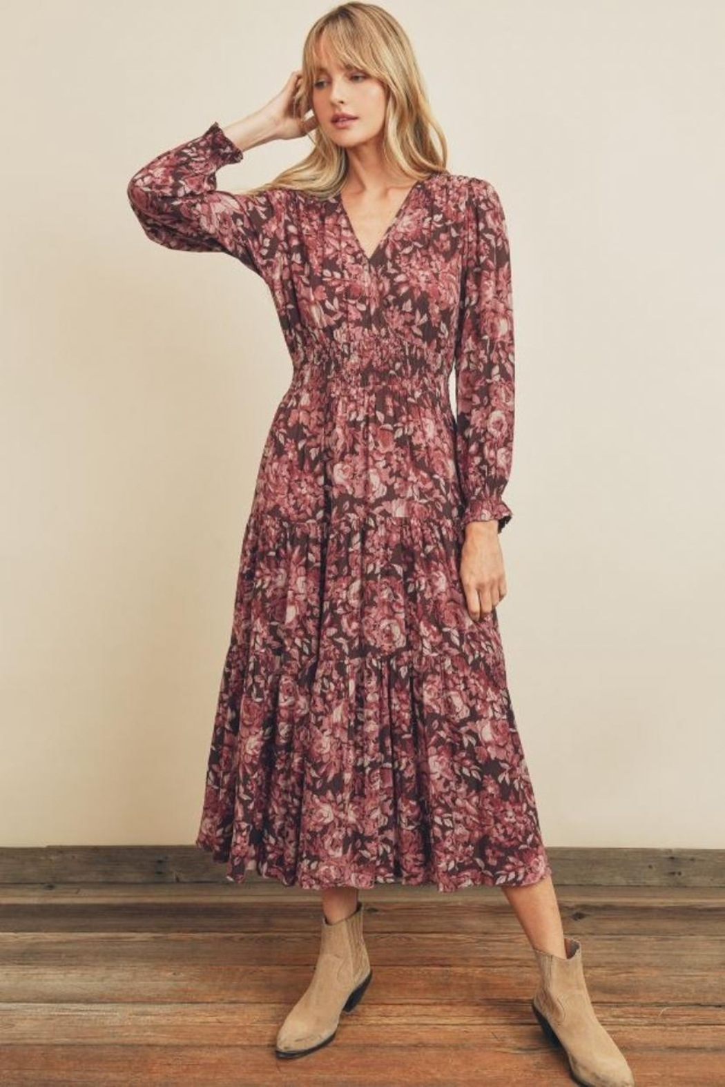 dress forum Floral Tiered Dress - Front Full Image