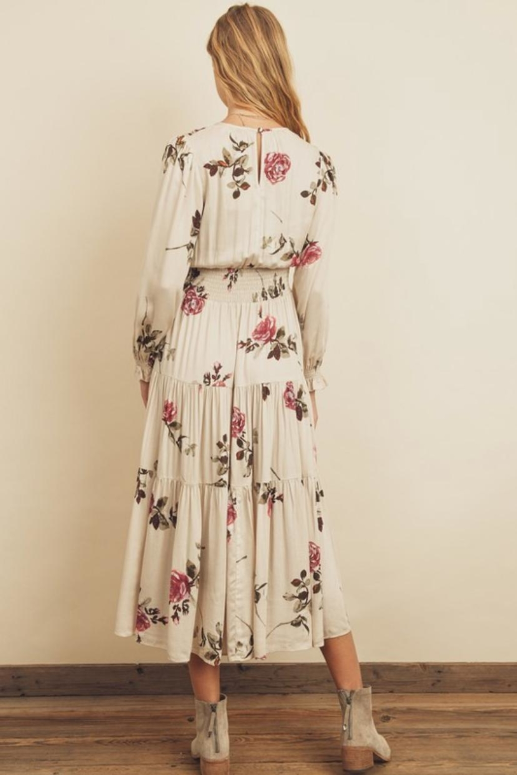 dress forum Floral Tiered Midi - Front Full Image