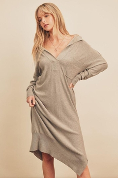 Shoptiques Product: Knitted Polo Dress With Collared Neckline