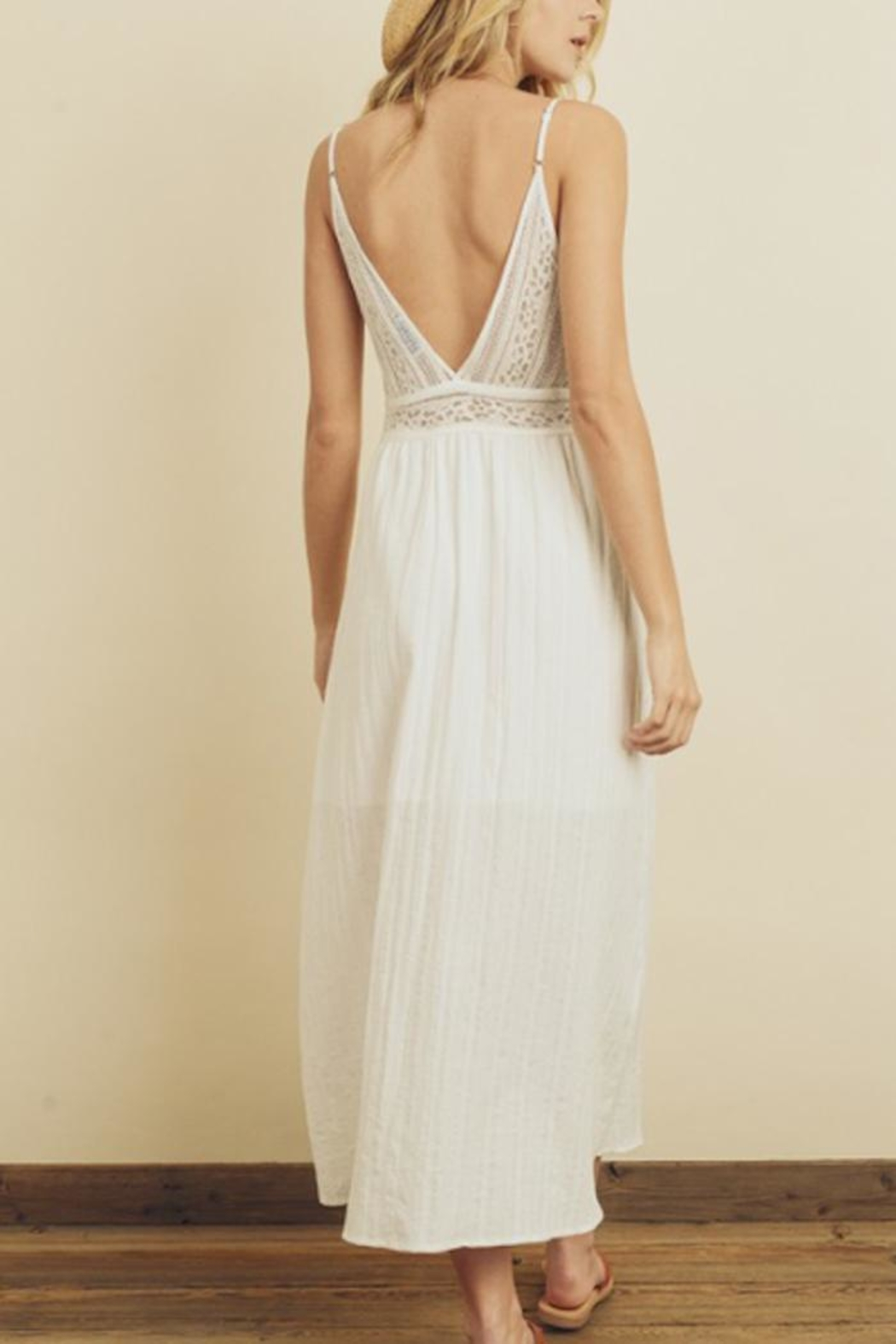 dress forum Lace Button-Front Midi - Side Cropped Image