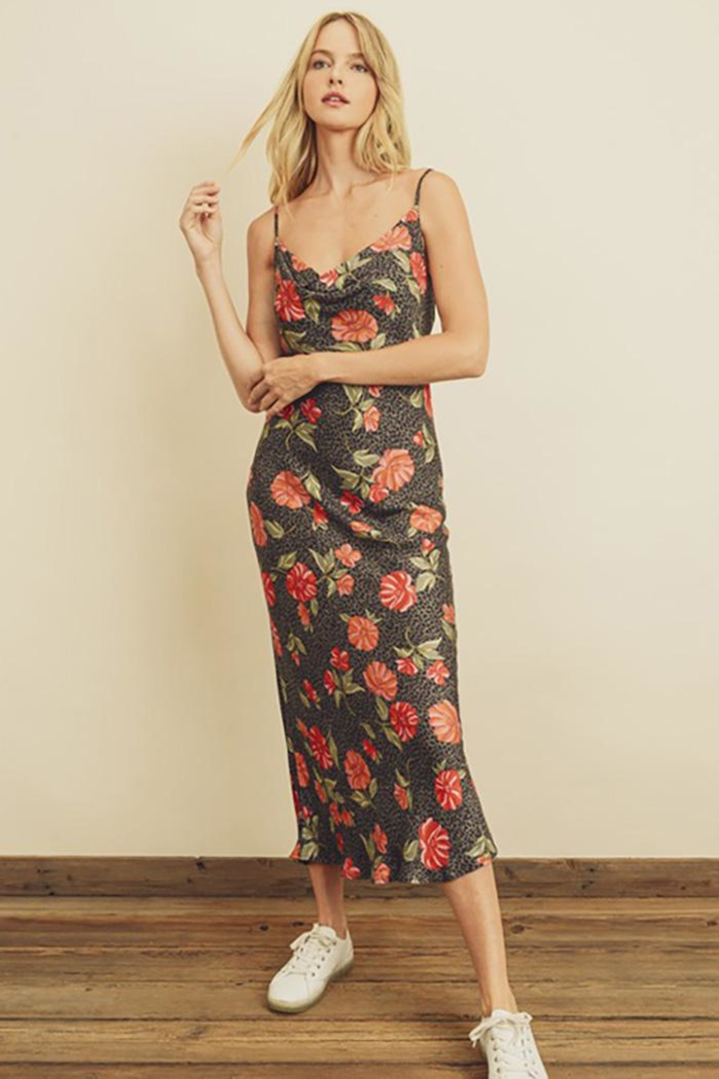 dress forum Leopard Flower Cowl Neck Slip Dress - Main Image