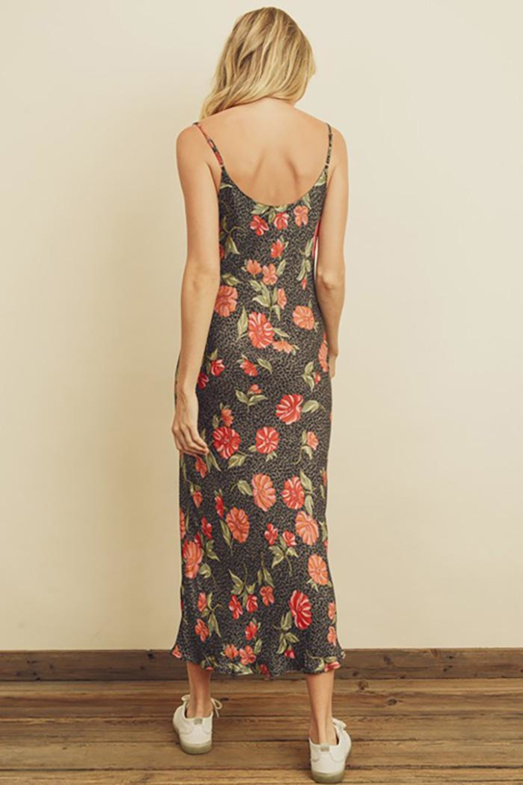 dress forum Leopard Flower Cowl Neck Slip Dress - Front Full Image
